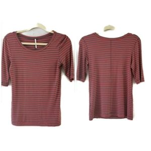 COPY - FREE PEOPLE Striped Scoop Necked Tee Shirt…